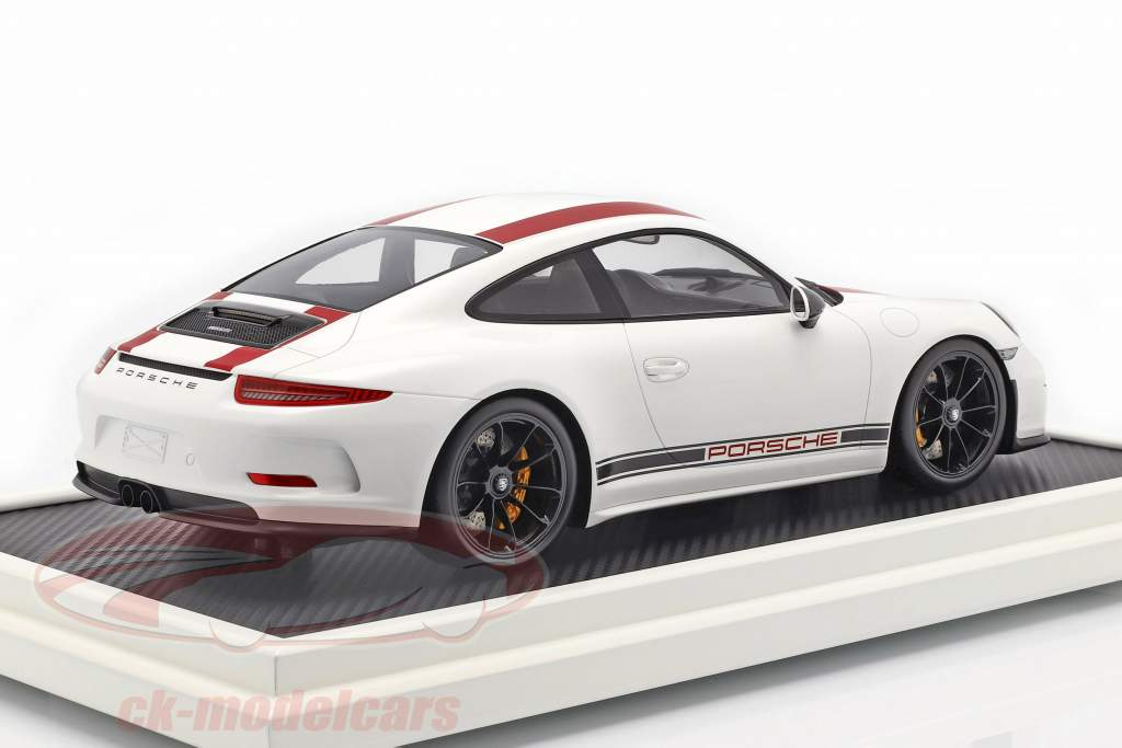 Porsche 911 (991) R Type year 2016 with showcase red / white 1:12 Spark
