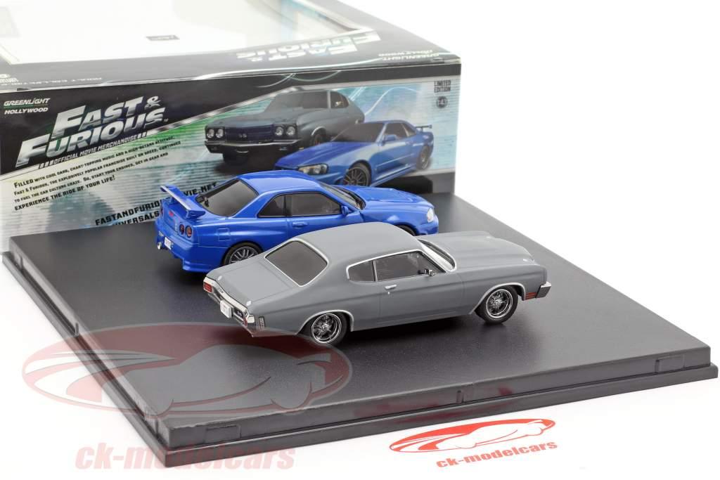 2-Car sæt Chevrolet Chevelle SS og Nissan Skyline GT-R Fast and Furious 1:43 Greenlight