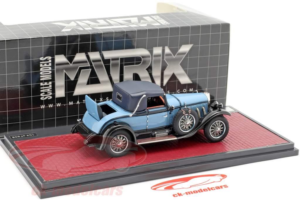 Mercedes-Benz 630K Sport Cabriolet Hibbard og Darrin lukket Opførselsår 1927 blå 1:43 Matrix