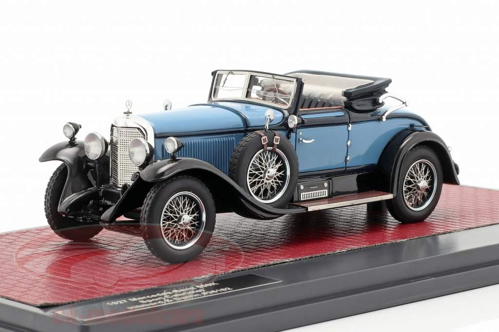 Mercedes-Benz 630K Sport Cabriolet Hibbard og Darrin åbent Opførselsår 1927 blå 1:43 Matrix