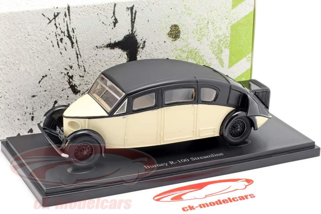 Burney R-100 Streamline Bouwjaar 1930 ivoor / zwart 1:43 AutoCult