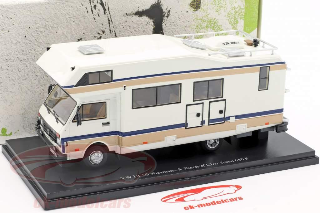 Volkswagen VW LT 50 Niesmann og Bischoff Clou Trend 650 F Opførselsår 1988 hvid 1:43 AutoCult