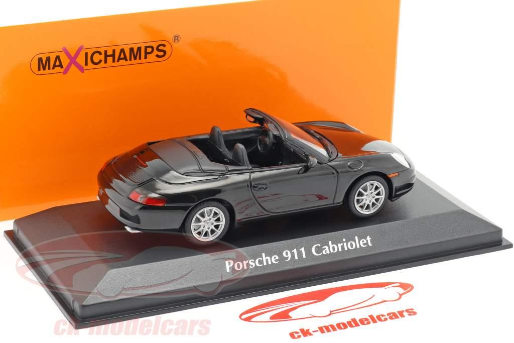 Porsche 911 (996) Cabriolet Bouwjaar 2001 zwart metalen 1:43 Minichamps