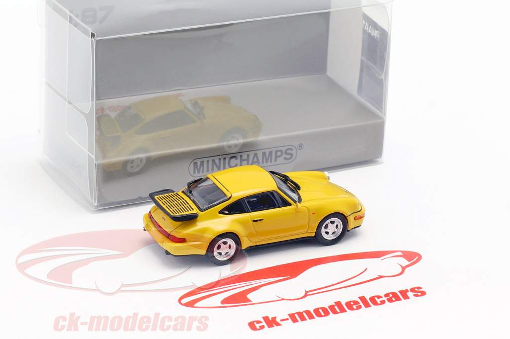 Porsche 911 Turbo (964) Bouwjaar 1990 geel 1:87 Minichamps