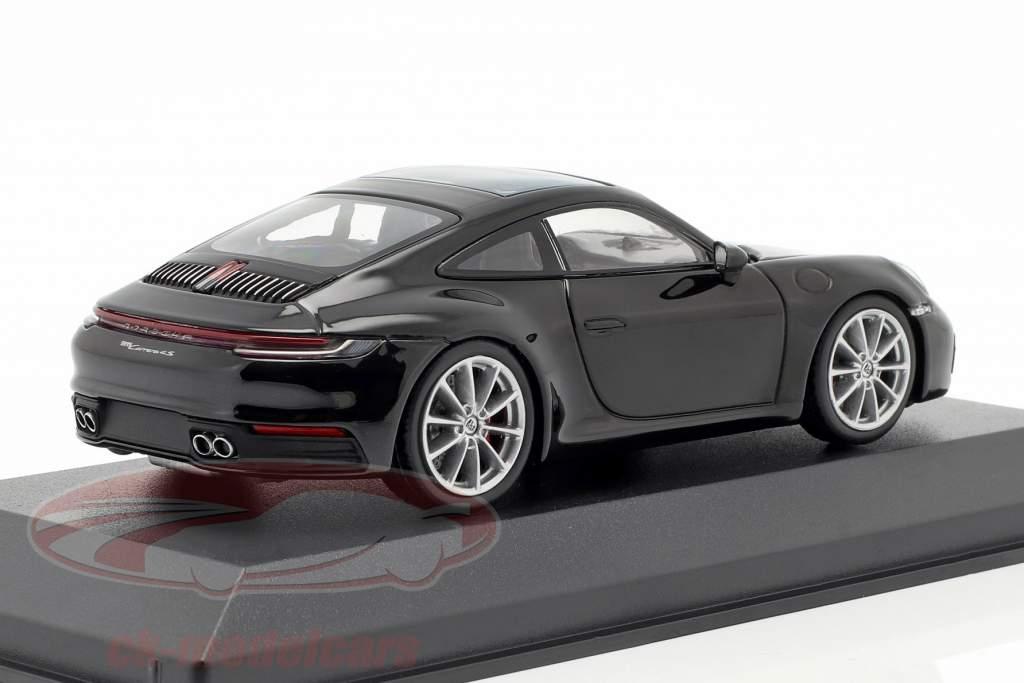 Porsche 911 (992) Carrera 4S Bouwjaar 2019 zwart metalen 1:43 Minichamps