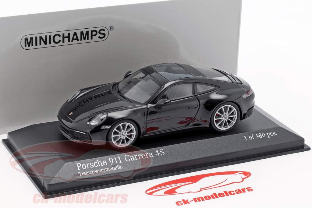 Porsche 911 (992) Carrera 4S anno di costruzione 2019 nero metallico 1:43 Minichamps