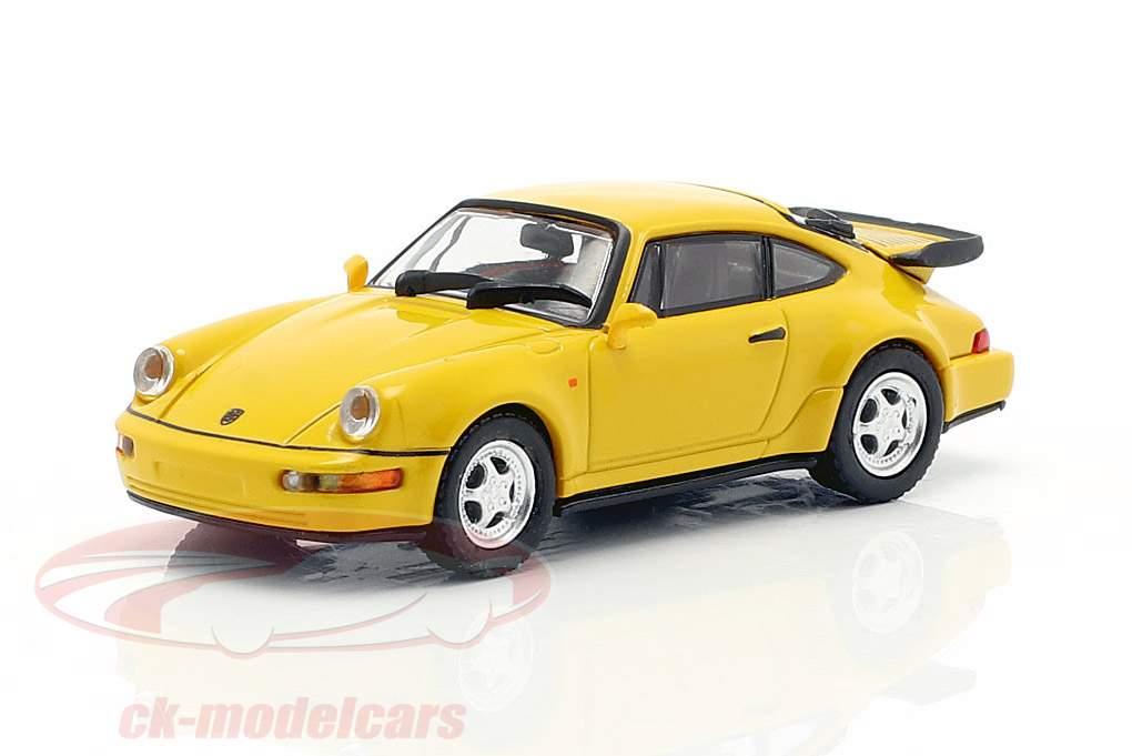 Porsche 911 Turbo (964) Opførselsår 1990 gul 1:87 Minichamps