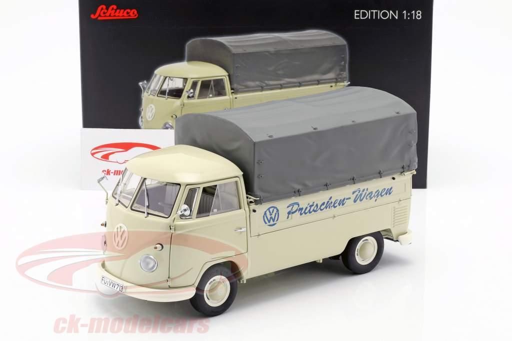 Volkswagen VW T1b platform truck met dekkleed Bouwjaar 1959-63 beige 1:18 Schuco