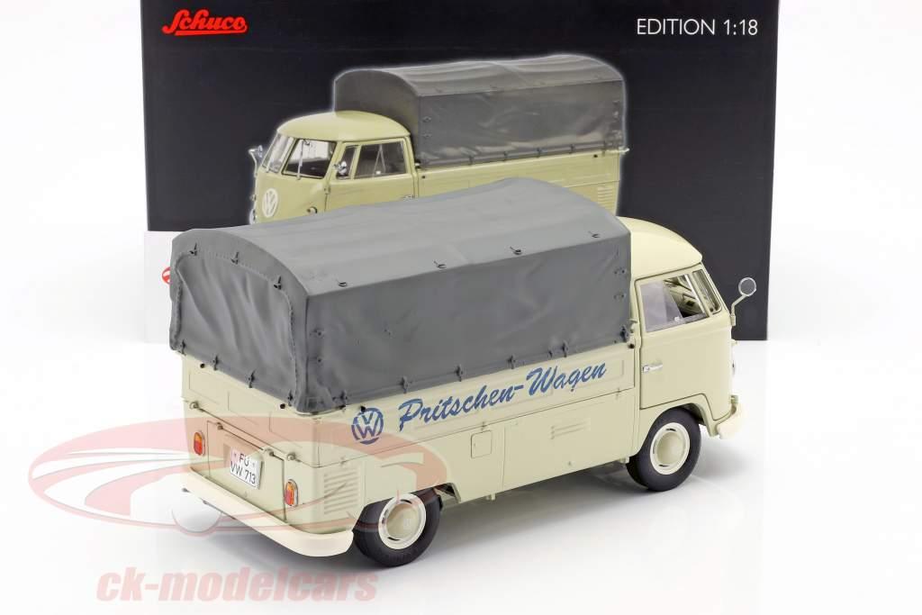 Volkswagen VW T1b camion piattaforma con telone anno di costruzione 1959-63 beige 1:18 Schuco