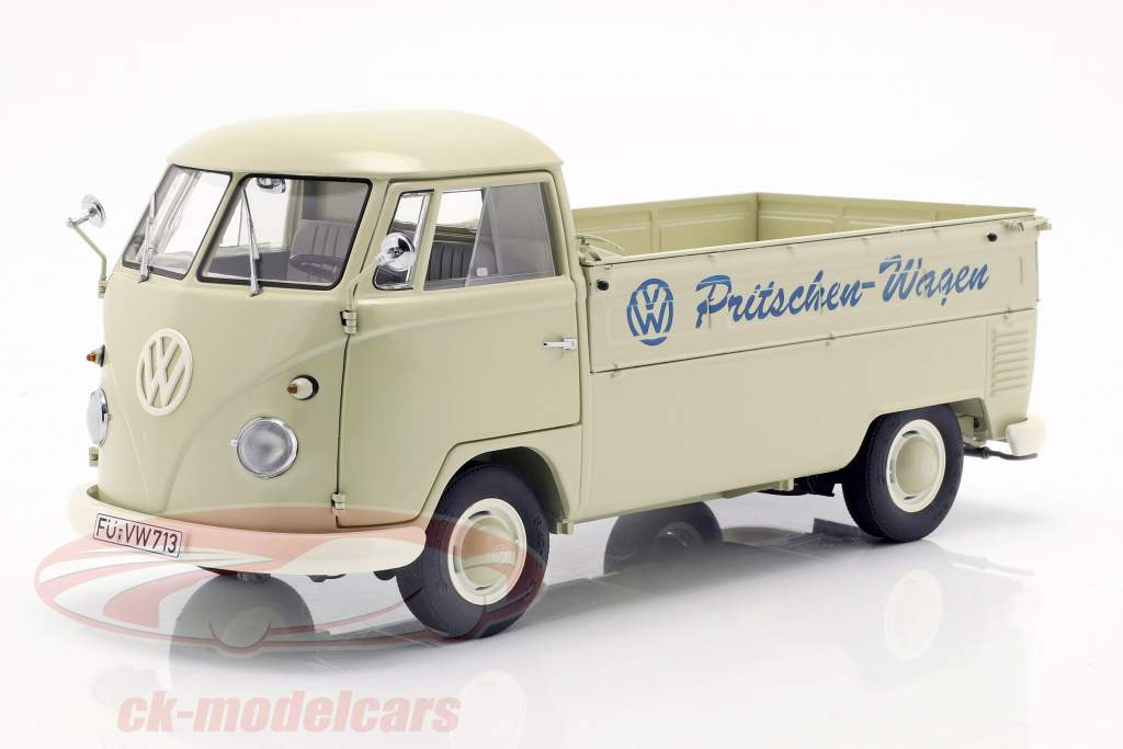 Volkswagen VW T1b camión plataforma con lona alquitranada año de construcción 1959-63 beige 1:18 Schuco