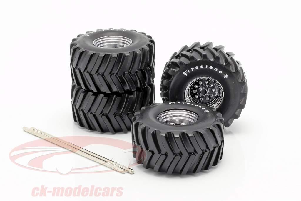 48-inch Monster Truck Firestone roue et pneu ensemble 1:18 Greenlight