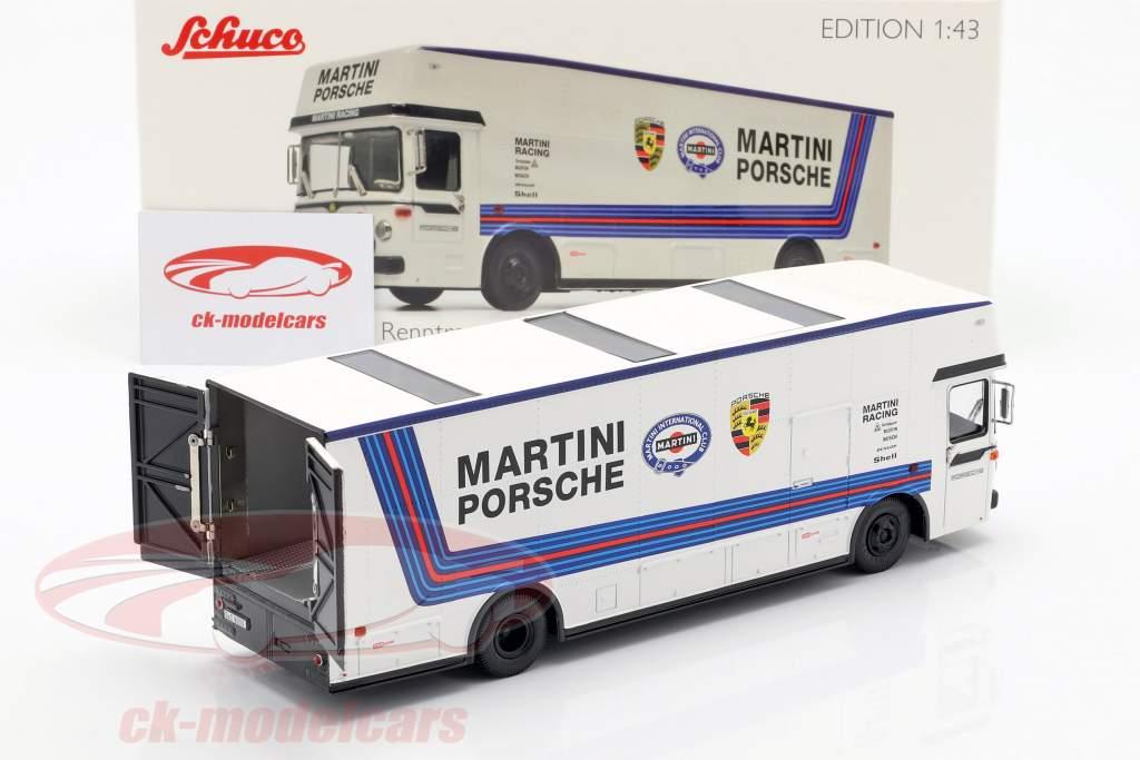 Mercedes-Benz O 317 course camion Porsche Martini Racing blanc 1:43 Schuco