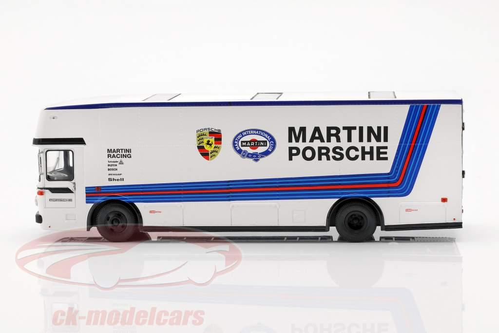 Mercedes-Benz O 317 gara camion Porsche Martini Racing bianco 1:43 Schuco