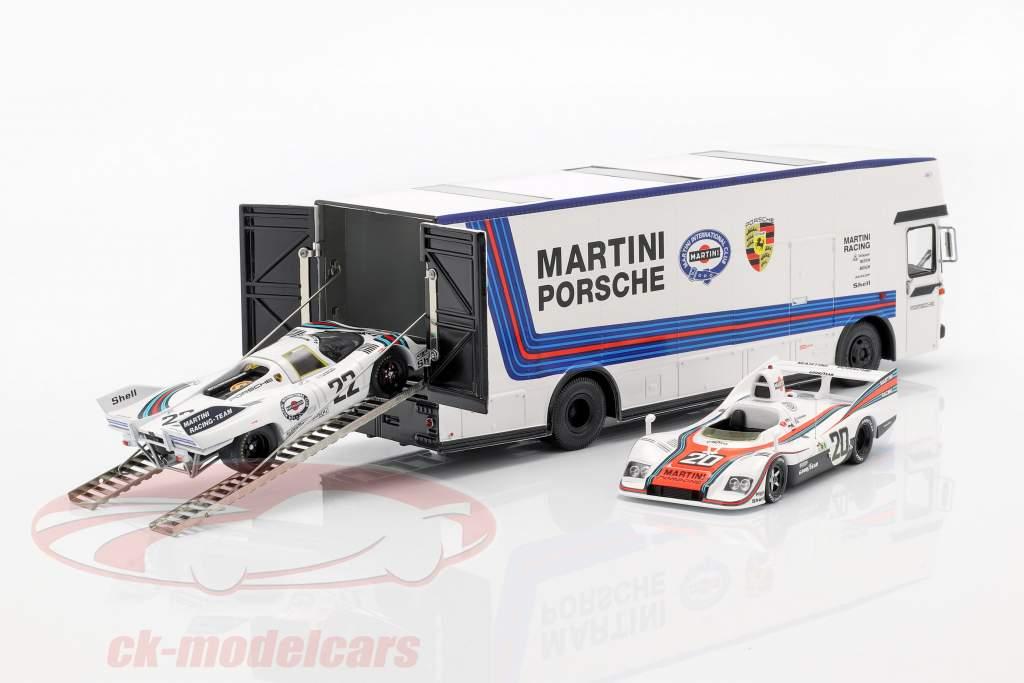 Mercedes-Benz O 317 Renntransporter Porsche Martini Racing weiß 1:43 Schuco