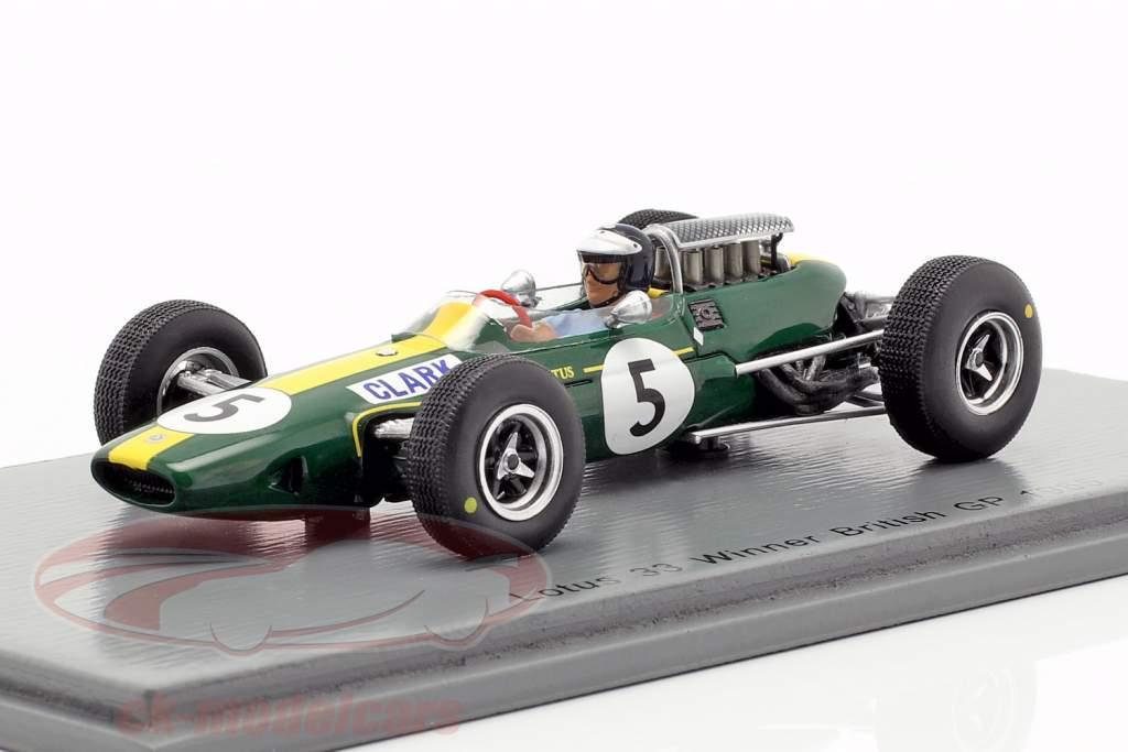 Jim Clark Lotus 33 #5 campione del mondo Gran Bretagna GP formula 1 1965 1:43 Spark