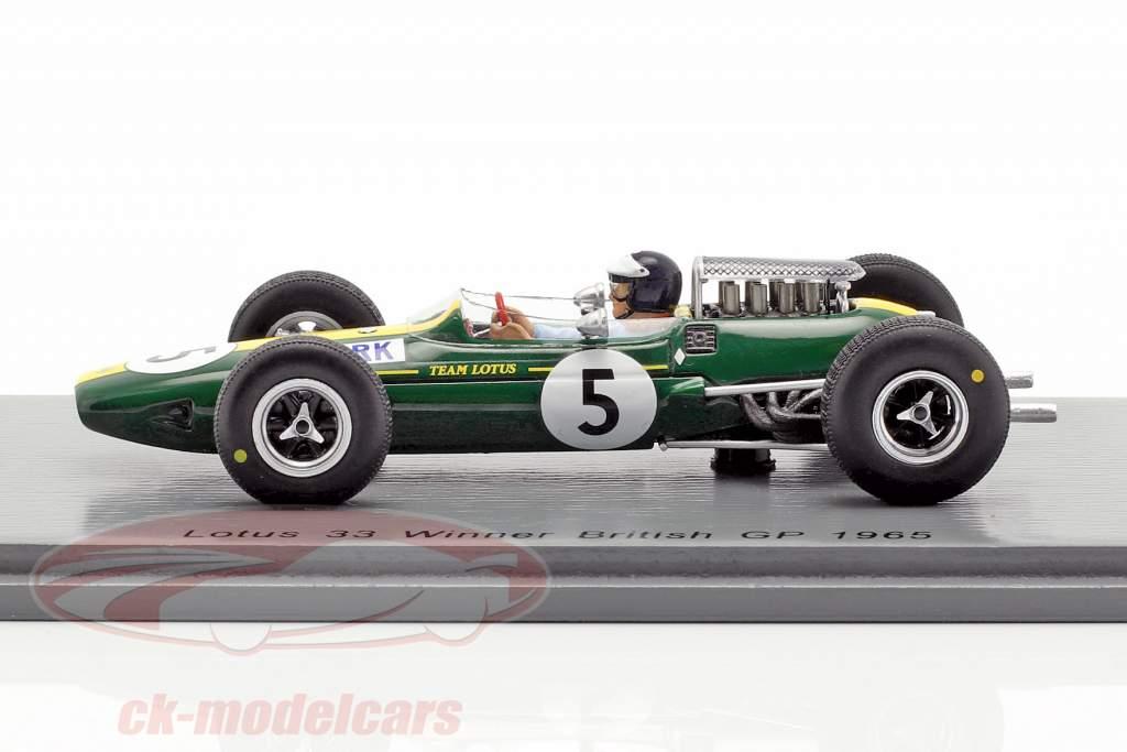 Jim Clark Lotus 33 #5 campeão do mundo Grã-Bretanha GP fórmula 1 1965 1:43 Spark