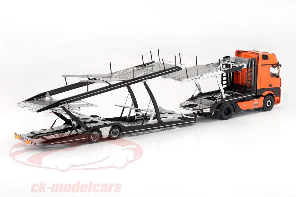 Set Mercedes-Benz Actros with Lohr car transporter orange / silver 1:18 NZG