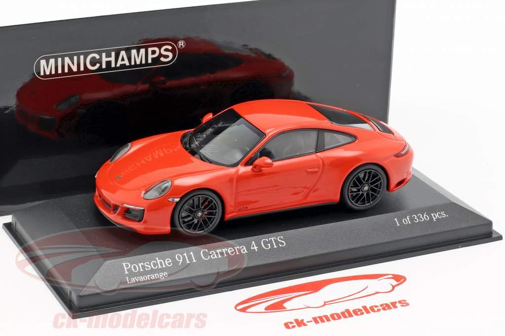 Porsche 911 (991 II) Carrera 4 GTS Bouwjaar 2017 lava oranje 1:43 Minichamps