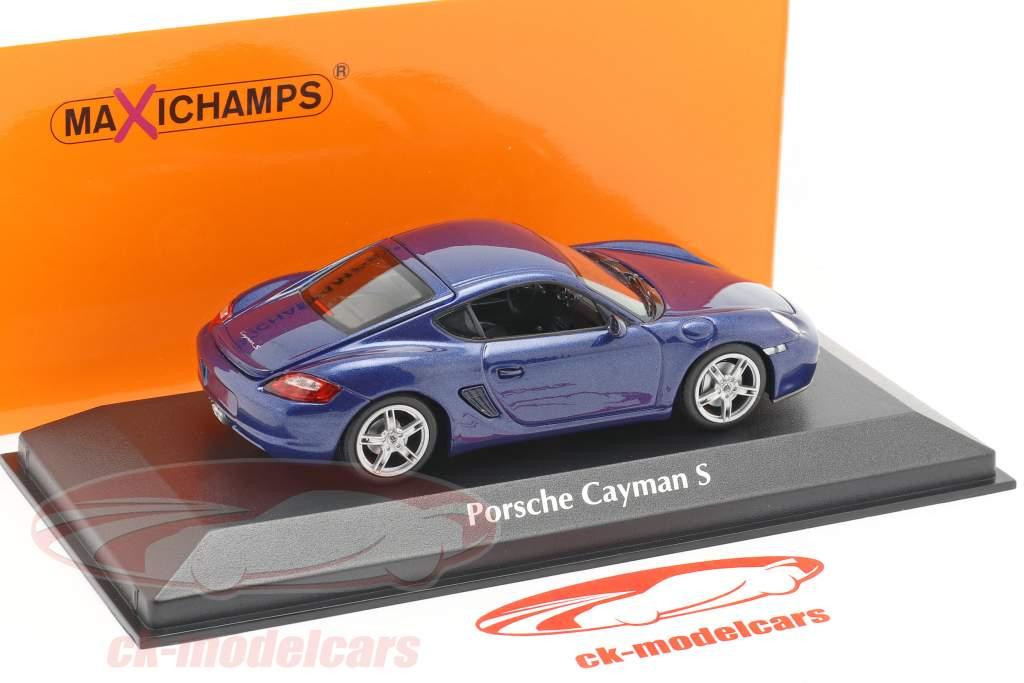 Porsche Cayman S (987c) Bouwjaar 2005 blauw metalen 1:43 Minichamps