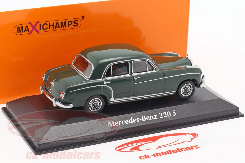 Mercedes-Benz 220 S (W180 II) année de construction 1956 vert foncé 1:43 Minichamps