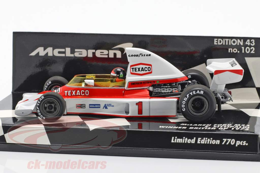Emerson Fittipaldi McLaren M23 #1 vincitore britannico GP F1 1975 1:43 Minichamps