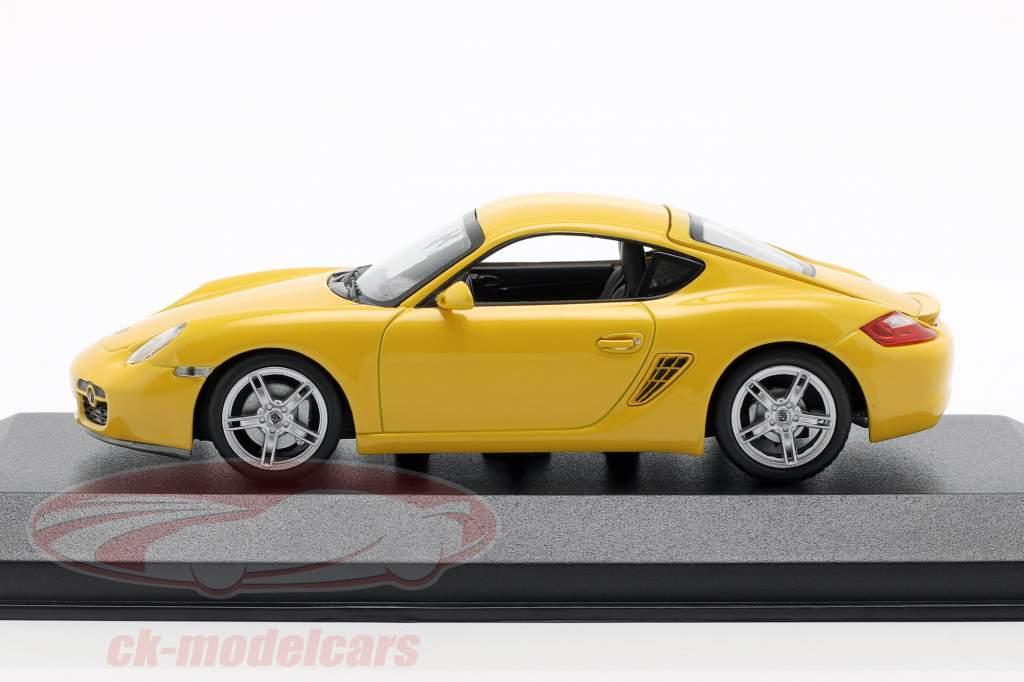 Porsche Cayman S (987c) Opførselsår 2005 gul 1:43 Minichamps