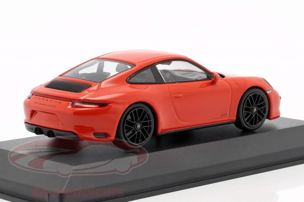 Porsche 911 (991 II) Carrera 4 GTS year 2017 lava orange 1:43 Minichamps