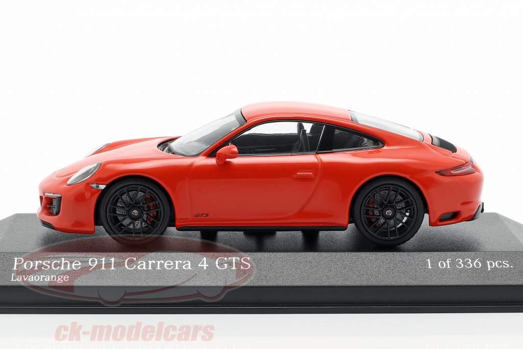 Porsche 911 (991 II) Carrera 4 GTS Opførselsår 2017 lava appelsin 1:43 Minichamps