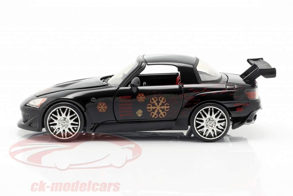Johnny's Honda S2000 1995 película Fast & Furious (2001) negro 1:24 Jada Toys