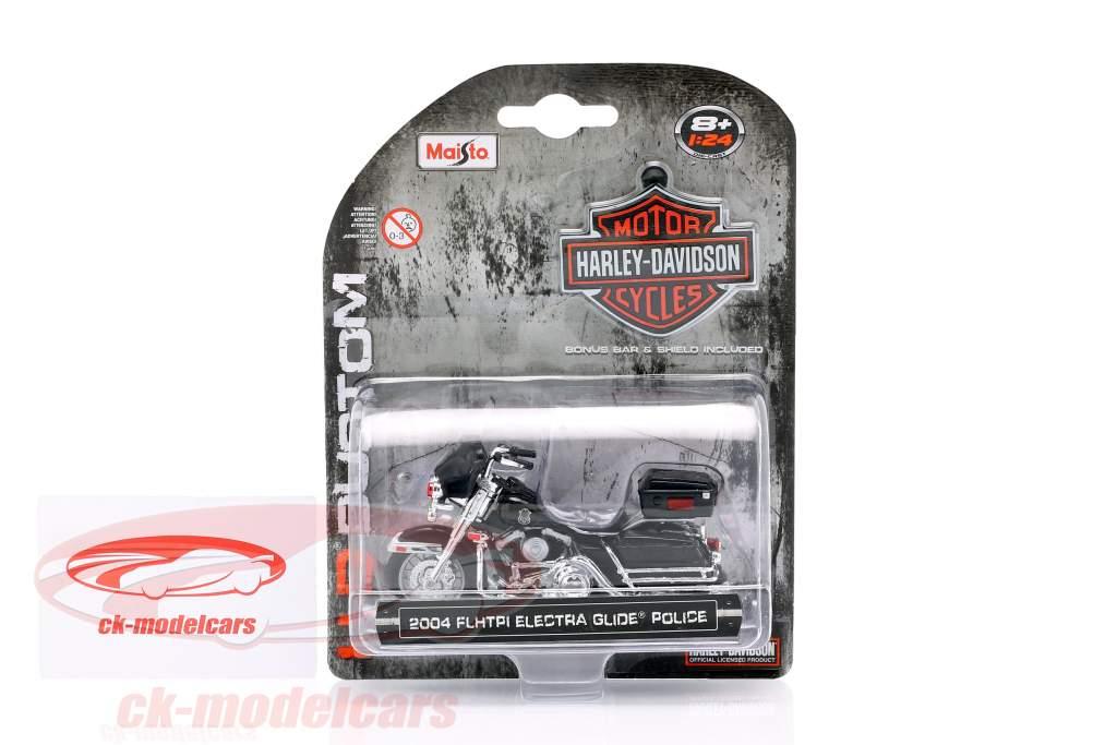 Harley Davidson FLHTPI Electra Glide politik Opførselsår 2004 sort 1:24 Maisto