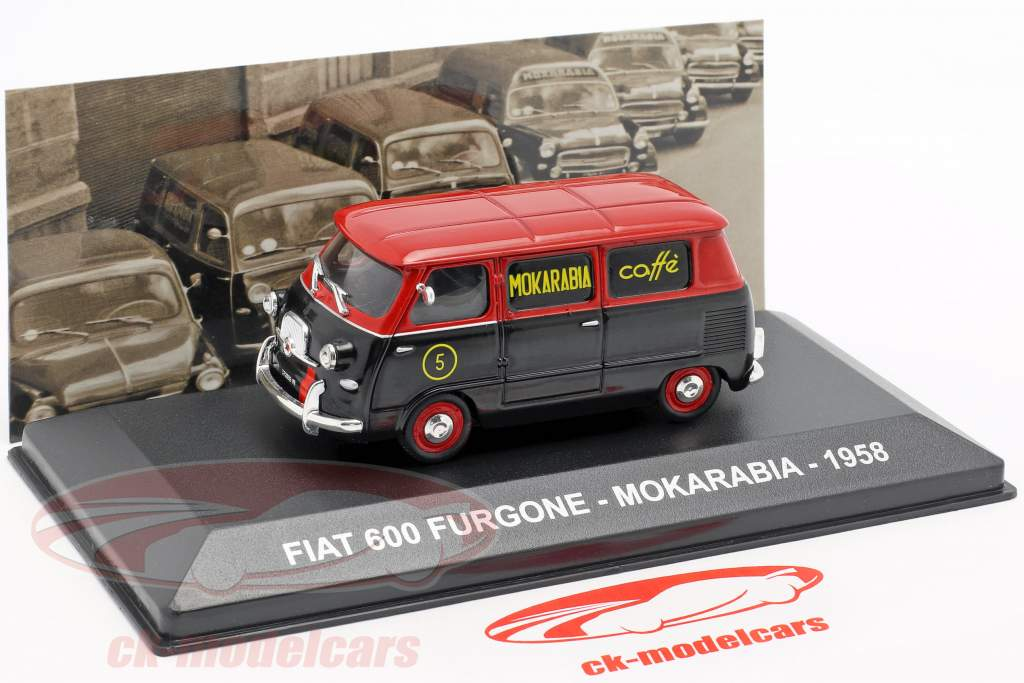 Fiat 600 furgoneta Mokarabia año de construcción 1958 rojo / negro 1:43 Altaya