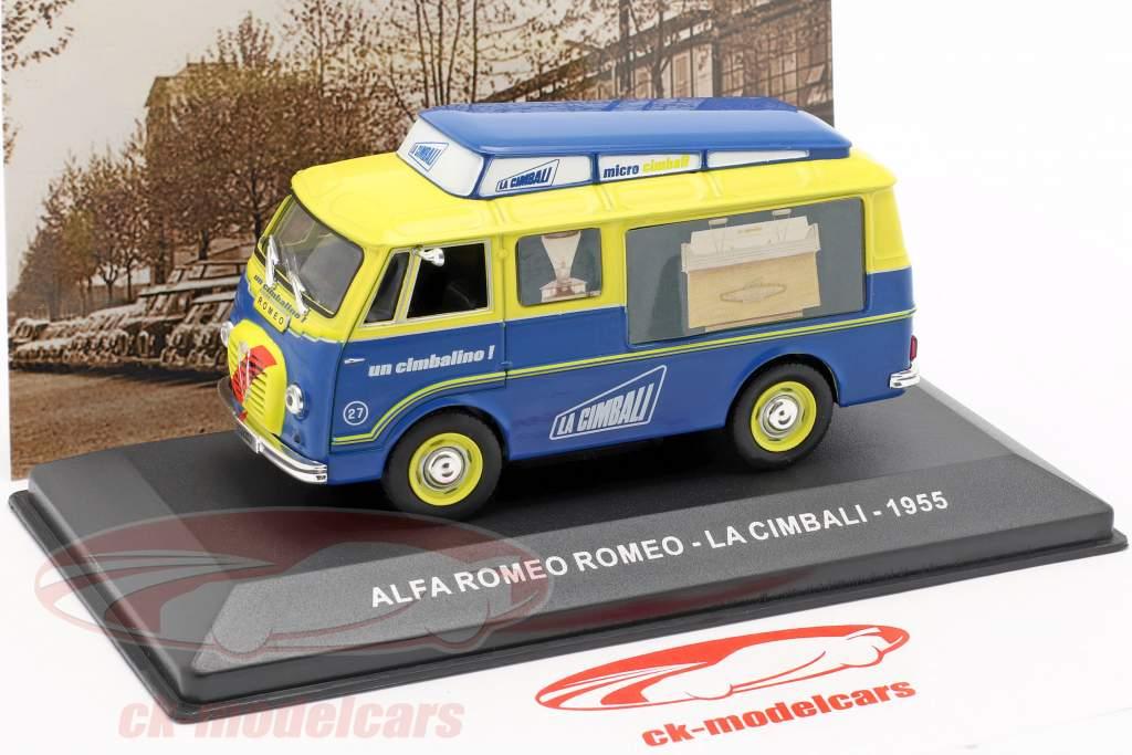 Alfa Romeo van La Cimbali year 1955 yellow / blue 1:43 Altaya