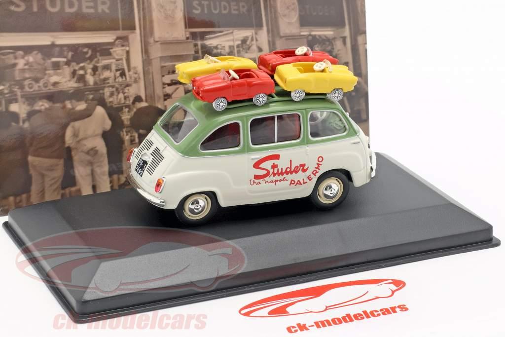Fiat 600 Multipla van Studer année de construction 1959 vert / crème blanc 1:43 Altaya