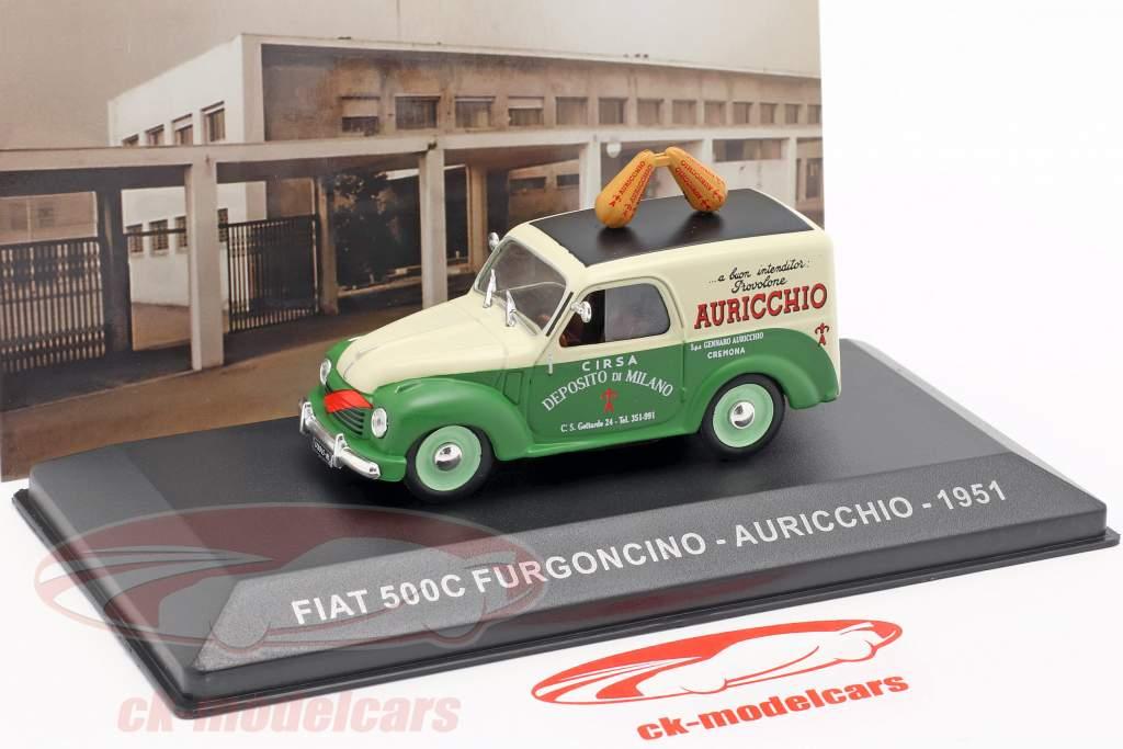 Fiat 500C furgone Auricchio anno di costruzione 1951 crema bianco / verde 1:43 Altaya