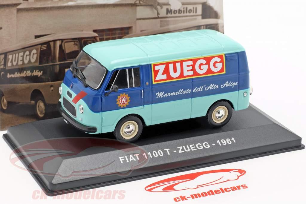 Fiat 1100 T busje Zuegg Bouwjaar 1961 turkoois / blauw 1:43 Altaya
