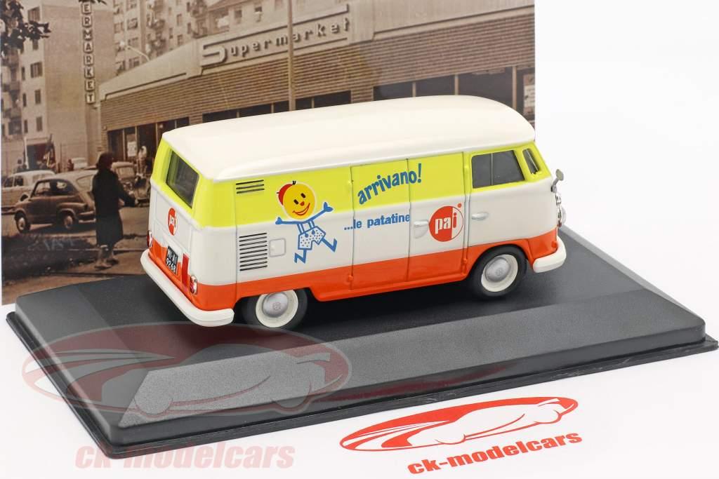 Volkswagen VW T1c bus Bouwjaar 1965 wit / oranje / geel 1:43 Altaya