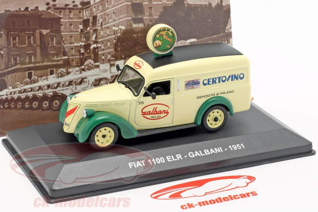 Fiat 1100 ELR van Galbani ano de construção 1951 brilhante amarelo / verde 1:43 Altaya