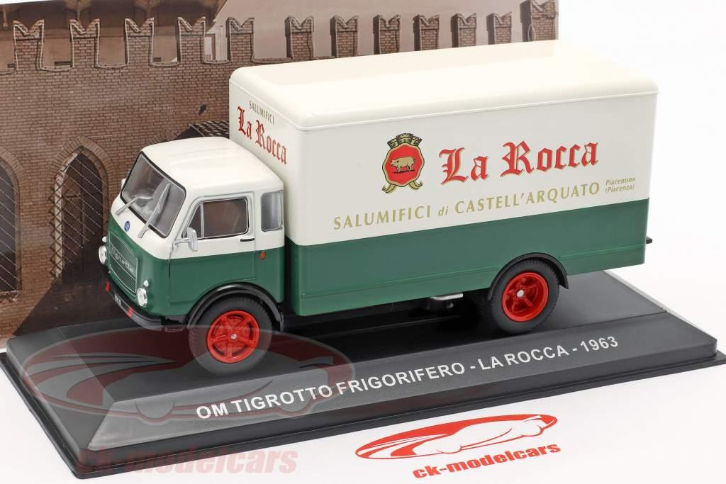 OM Tigrotto van La Rocca ano de construção 1963 branco / verde 1:43 Altaya