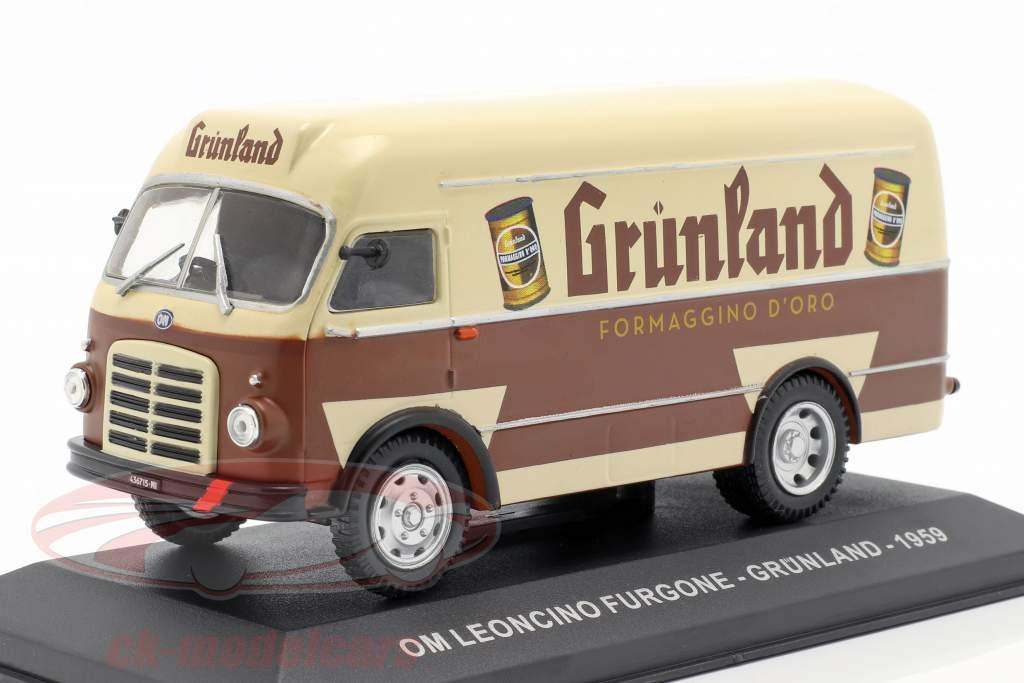 OM Leoncino furgoneta Grünland año de construcción 1959 marrón / beige 1:43 Altaya