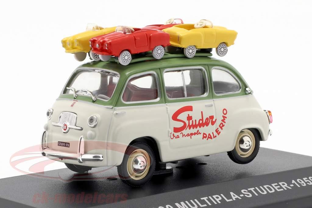 Fiat 600 Multipla busje Studer Bouwjaar 1959 groen / crème wit 1:43 Altaya