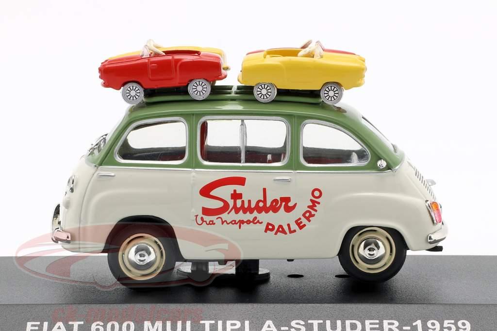 Fiat 600 Multipla furgone Studer anno di costruzione 1959 verde / crema bianco 1:43 Altaya