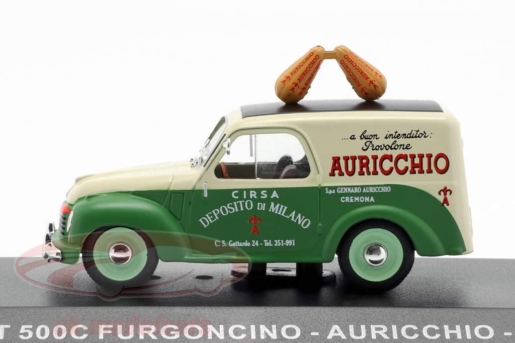 Fiat 500C busje Auricchio Bouwjaar 1951 crème wit / groen 1:43 Altaya