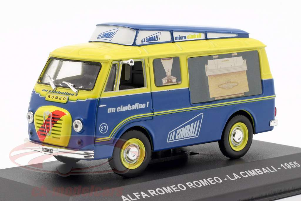 Alfa Romeo van La Cimbali Opførselsår 1955 gul / blå 1:43 Altaya
