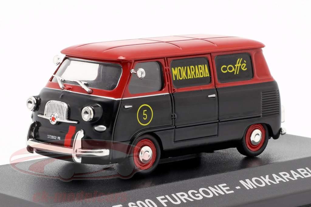 Fiat 600 van Mokarabia Opførselsår 1958 rød / sort 1:43 Altaya