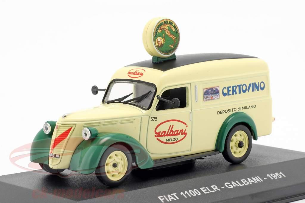 Fiat 1100 ELR van Galbani année de construction 1951 brillant jaune / vert 1:43 Altaya