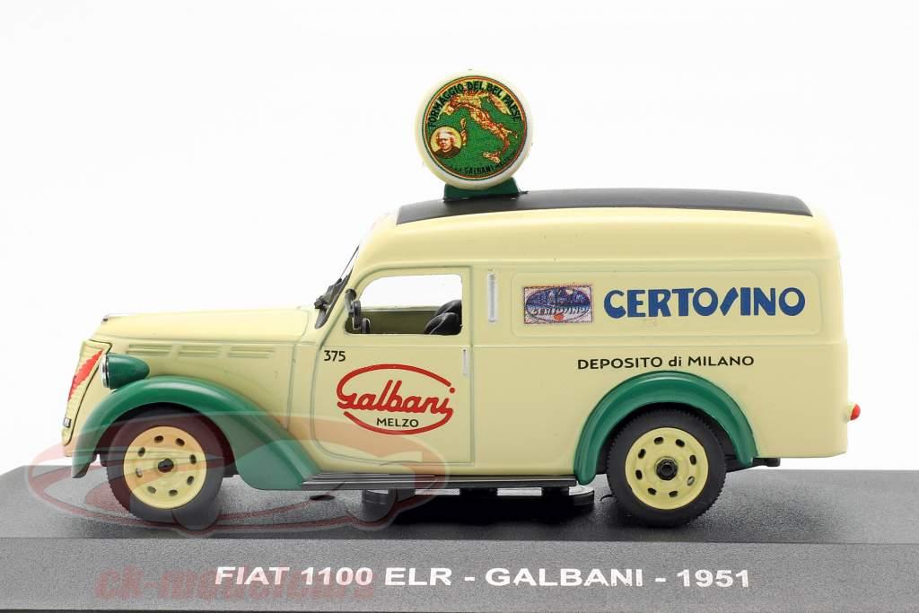Fiat 1100 ELR van Galbani year 1951 light yellow / green 1:43 Altaya