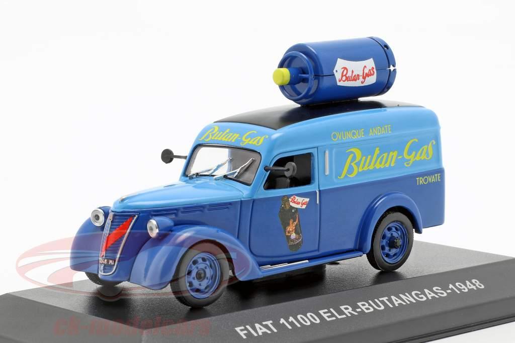 Fiat 1100 ELR busje Butangas Bouwjaar 1948 blauw 1:43 Altaya