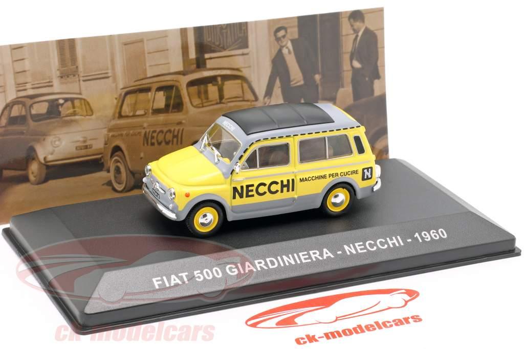 Fiat 500 Giardiniera Necchi Opførselsår 1960 gul / grå 1:43 Altaya