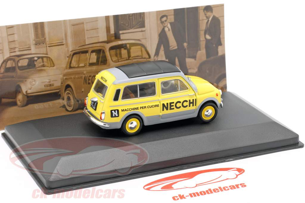 Fiat 500 Giardiniera Necchi Baujahr 1960 gelb / grau 1:43 Altaya