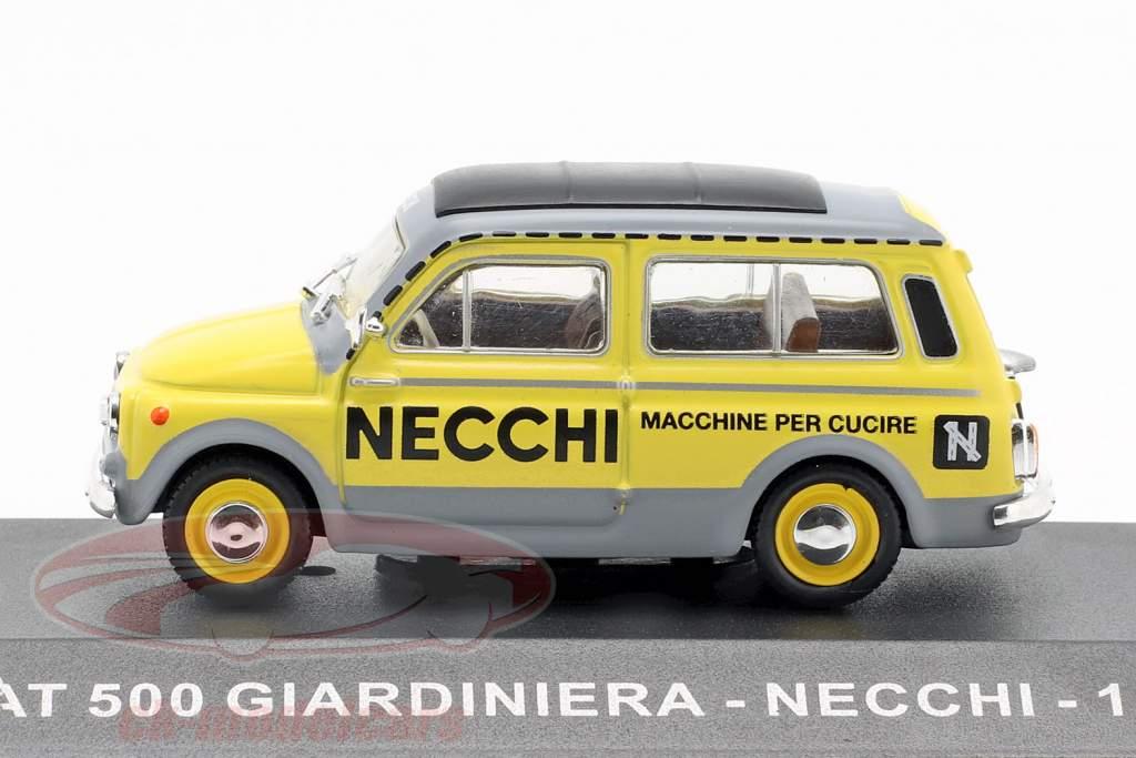 Fiat 500 Giardiniera Necchi  year 1960 yellow / grey 1:43 Altaya